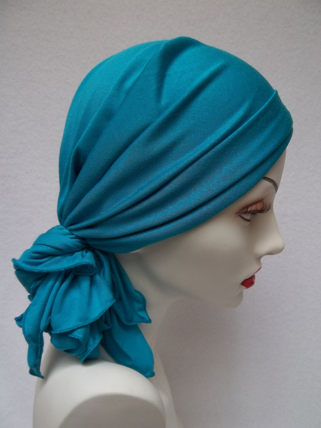 Chemo Alopecia Rayon Turquoise Soft Stretchy Head Scarf