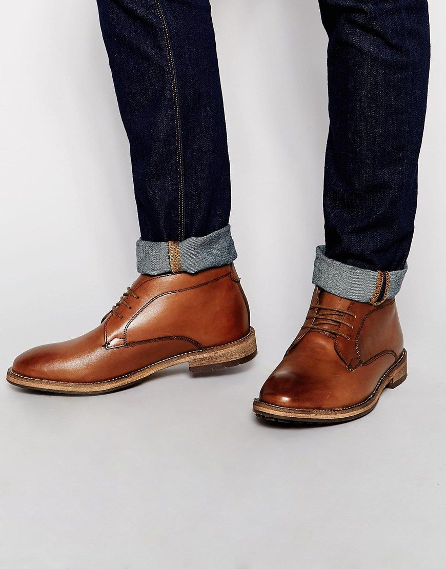 Buy Men Shoes / Frank Wright Oval Leather Boots