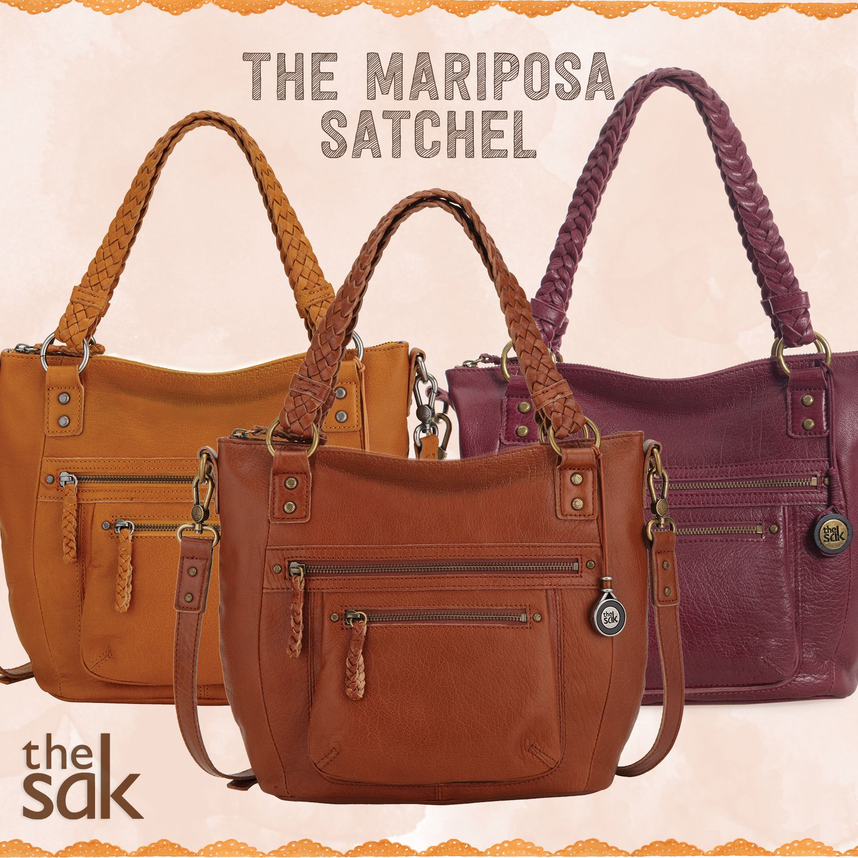 The Marisposa Satchel, featuring woven double handles, multiple front pockets and a removable & adjustable crossbody strap