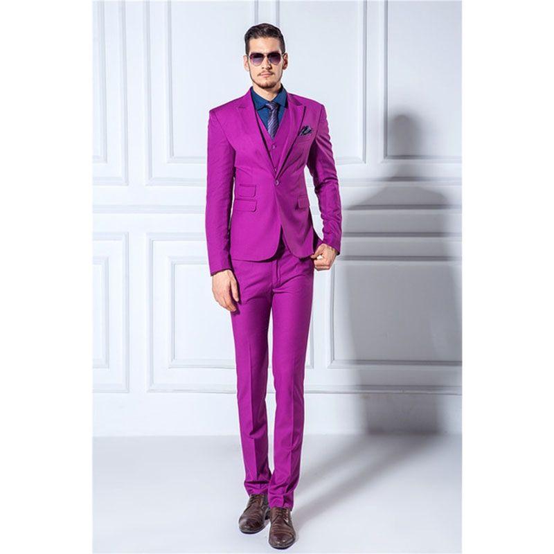 2017 New 3 pieces Man Suit Slim Blazer Tuxedo (Jackets+Pants+Vest ...