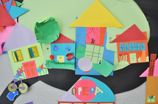 A Place To Call Home- Collage Paper Shape Houses with Kids | The Eric Carle Museum's Art Studio Blog