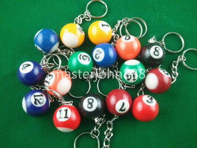 Lots of 16pcs Pool Billiard Snooker Ball Keychain Keyring Free Shipping Wholesales Backyard Competition http://backyardcompetition.com/products/lots-of-16pcs-pool-billiard-snooker-ball-keychain-keyring-free-shipping-wholesales/