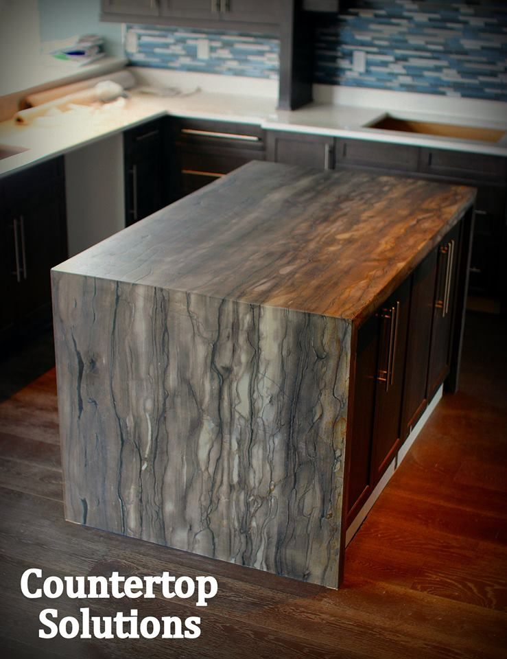 Kitchen Island In Sequoia Brown Leather Finish With 90 Degree