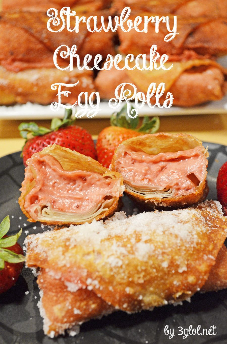 Strawberry Cheesecake Egg Rolls. A unique fusion of strawberry cheesecake and egg rolls.  Great hand held dessert for parties. #cheesecake #recipe #eggrolls #eggrolls