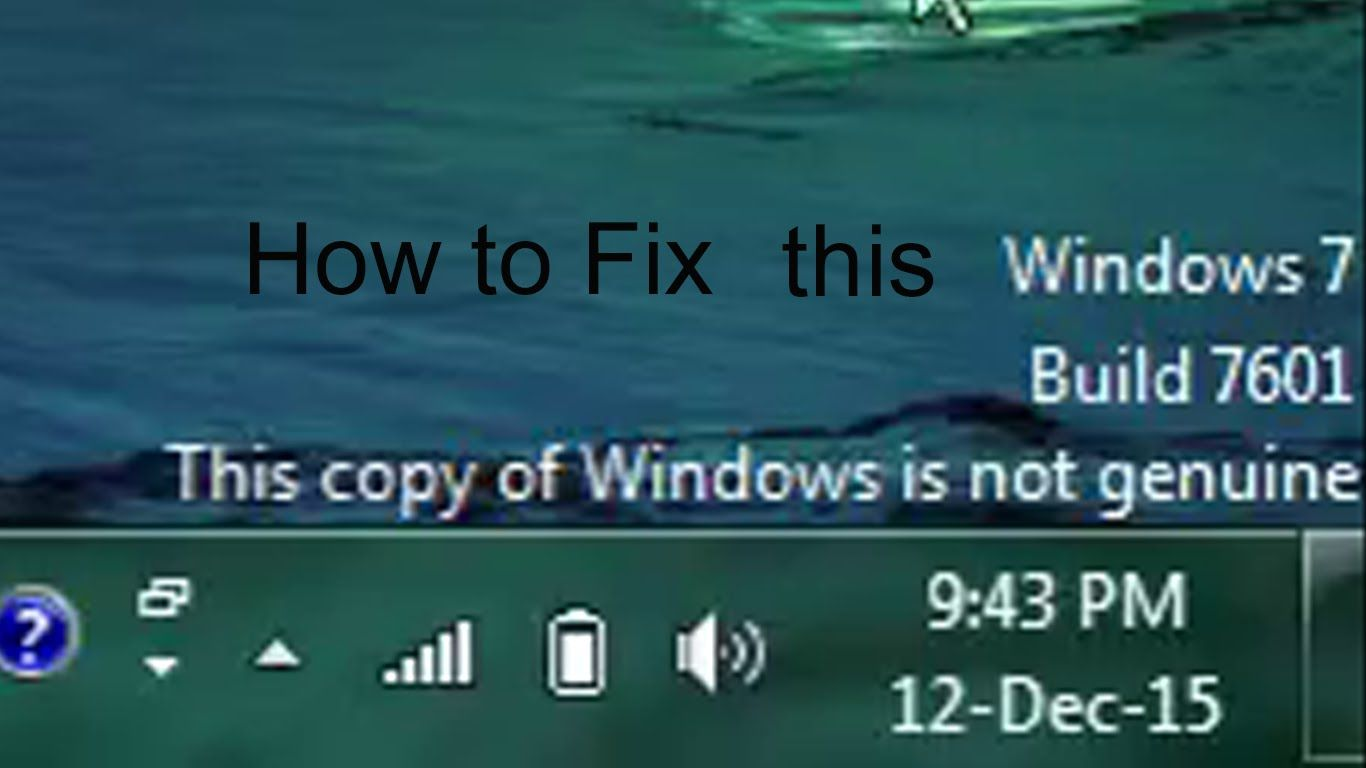 build 7601 this copy of windows is not genuine