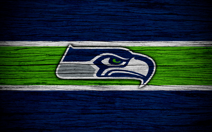 Download wallpapers Seattle Seahawks, 4k, wooden texture