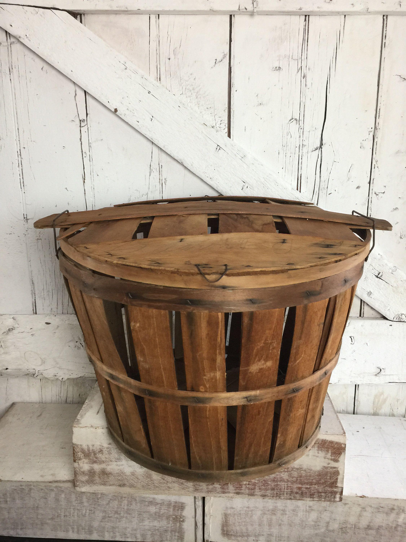 Bushel Basket Harvest Basket With Lid Large Vintage Apple Basket