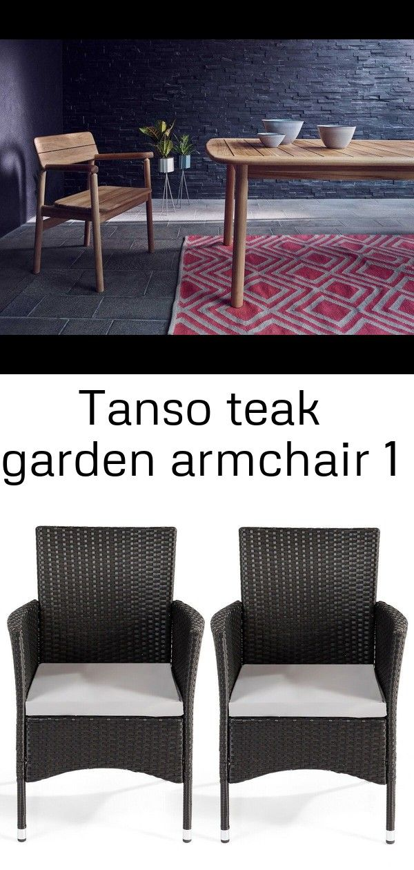 Tanso teak garden armchair 1 Tanso Teak Garden Armchair 2 pcs Dining Chairs Set with 2 Cushion Covers 10795  Free Shipping This is the rattan armchair set which will add...