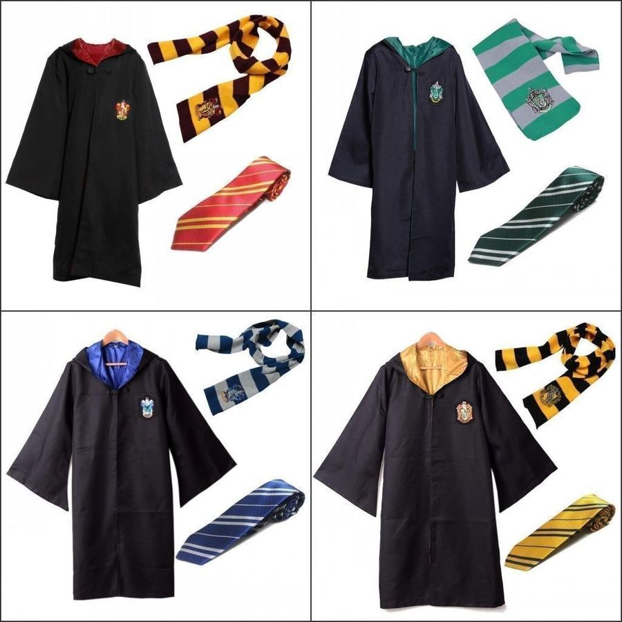 New Harry Potter Hogwarts Cosplay Robe Tie Scarf suit Fancy Dress Cosplay