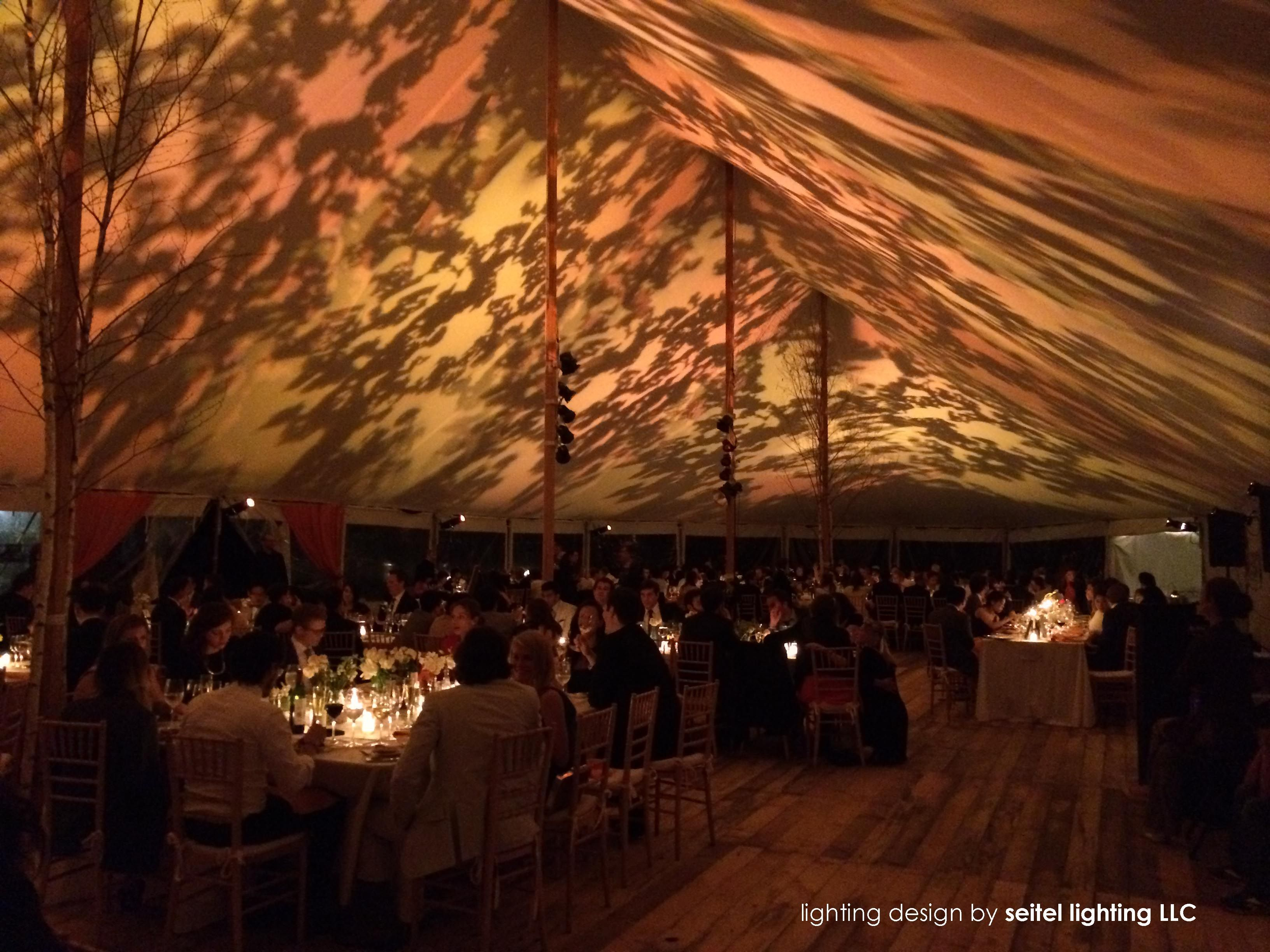 A foliage gobo lighting design in a 51 x 111 sailcloth tent by ...