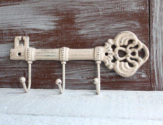 Key Holder Wall Hook Skeleton Key Rack Ivory Beige Key Holder For Wall Key Hanger Key Hooks Ca In 2020 Wall Key Holder Decorative Wall Hooks Key Hooks For Wall