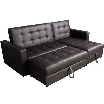 Deluxe Faux Leather Corner Sofa Bed Storage Sofabed Couch With