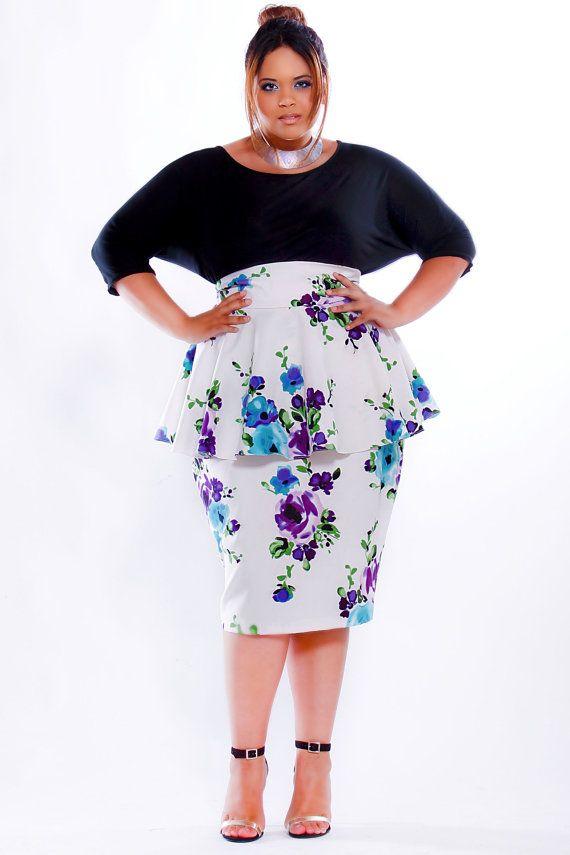e407fe421b4ee JIBRI Plus Size High Waist Pencil Skirt w Peplum by jibrionline ...