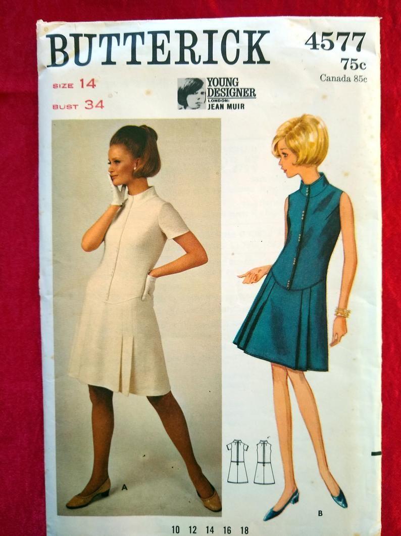 Butterick 4577 1960s mod Jean Muir London designer dress