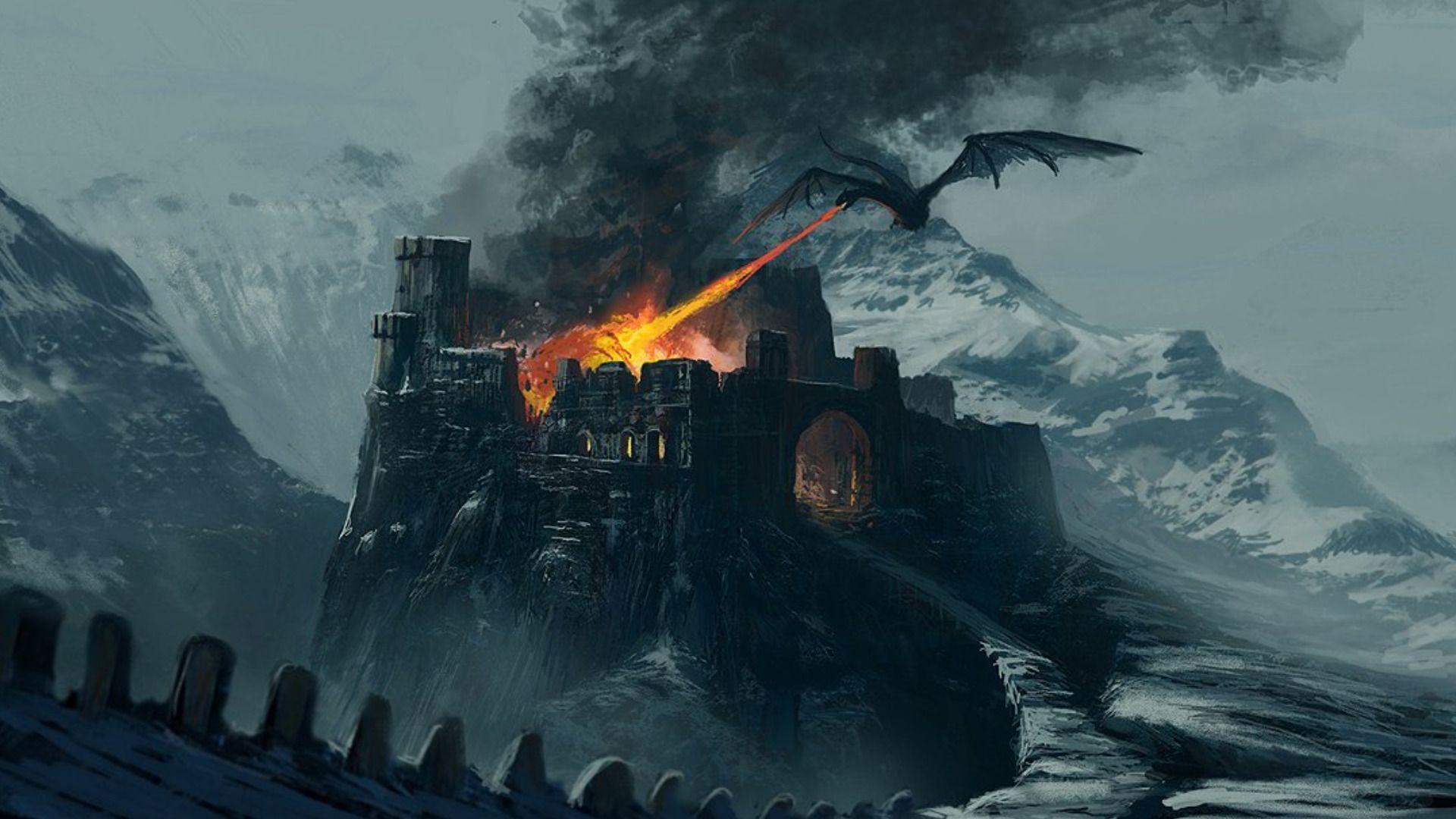 картинка дракон над замком основе