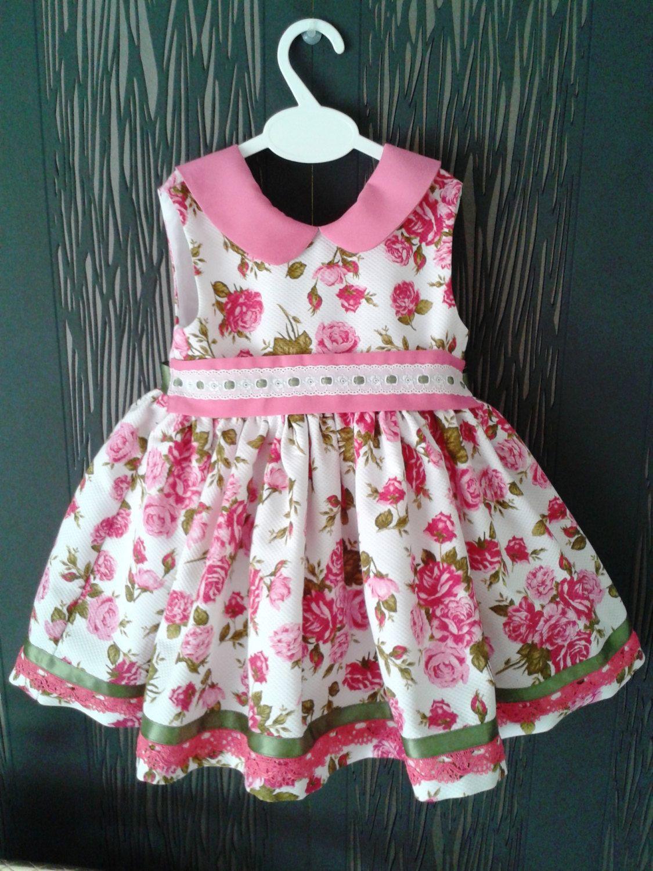 vestido niña flores piqué , vestido bebé rosa y blanco , vestido fucsia niña…