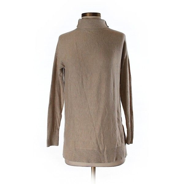 Pre-owned Ann Taylor LOFT Turtleneck Sweater Size 0: Tan Women's Tops ($15) ❤ liked on Polyvore featuring tops, sweaters, tan, tan sweater, brown turtleneck, polo neck top, polo neck sweater and turtle neck sweater