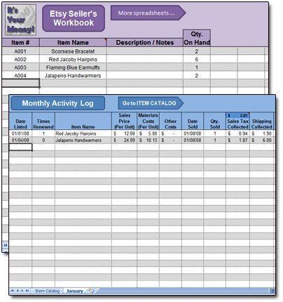 Etsy Seller\u0027s Spreadsheet Work From Home Pinterest Etsy - spreadsheet app for iphone 6