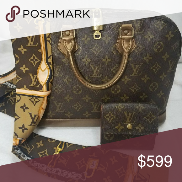 52eb84d5f7dc Authentic LV Alma PM and wallet set GUC Vintage Painted and sealed for  protection Comes with lock and key Twilly 100% silk Open to reasonable  offers Louis ...