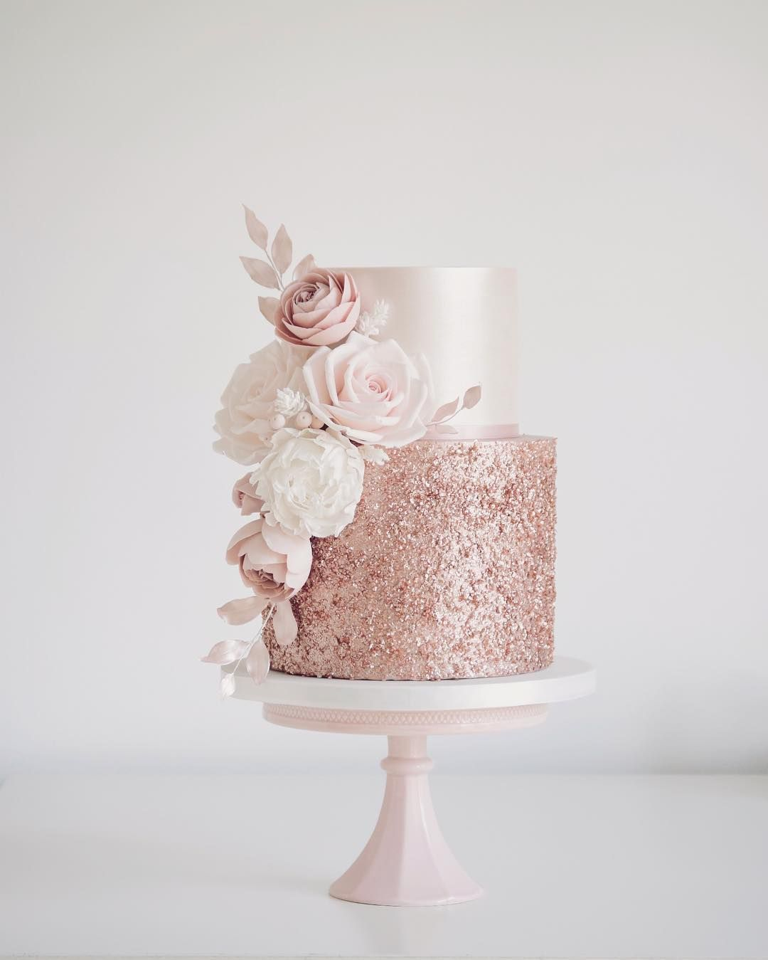 """Tracy James on Instagram: """"Rose gold sequins and blush flowers today for Sola. Hope you enjoy your party at Coombe Abbey x #rosegold #rosegoldcake #cakes #cakemaker…"""""""