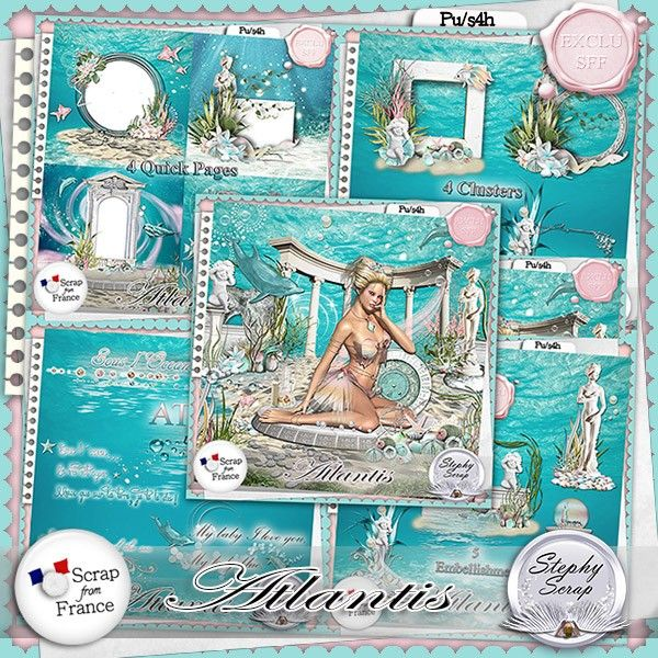 "Kit ""Atlantis"" by Stephy Scrap http://scrapfromfrance.fr/shop/index.php?main_page=index&manufacturers_id=97"
