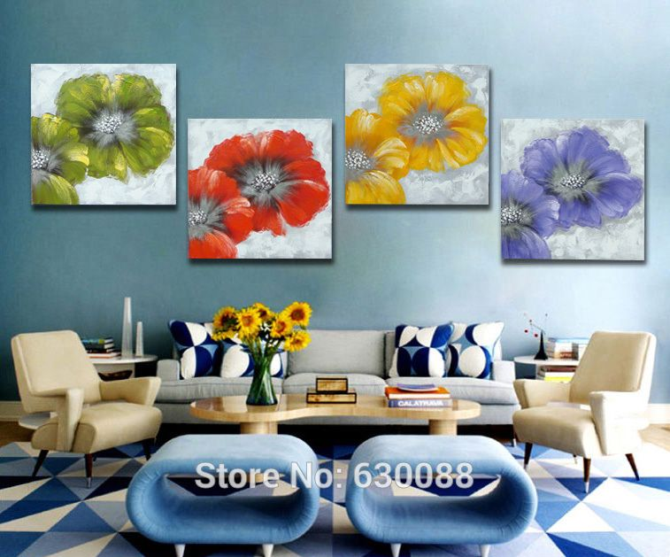 100% hand painted oil painting high quality modern living room ...