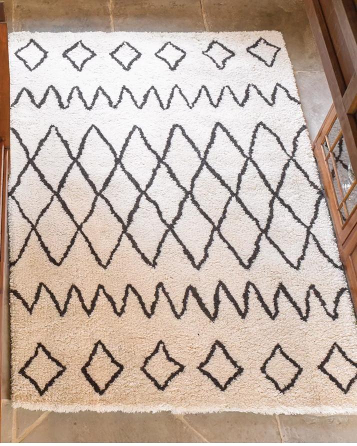 Flair Berber Nile 100 Wool Rug Moroccan Tribal Design In Ivory Blac Solitaire Rugs Co Contemporary Wool Rugs Wool Rug Rugs