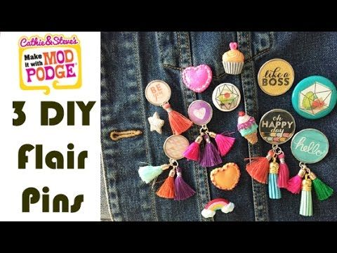 How to make your own flair pins. 3 different ideas using Mod Podge. Add tassels and glitter! Make a bunch!