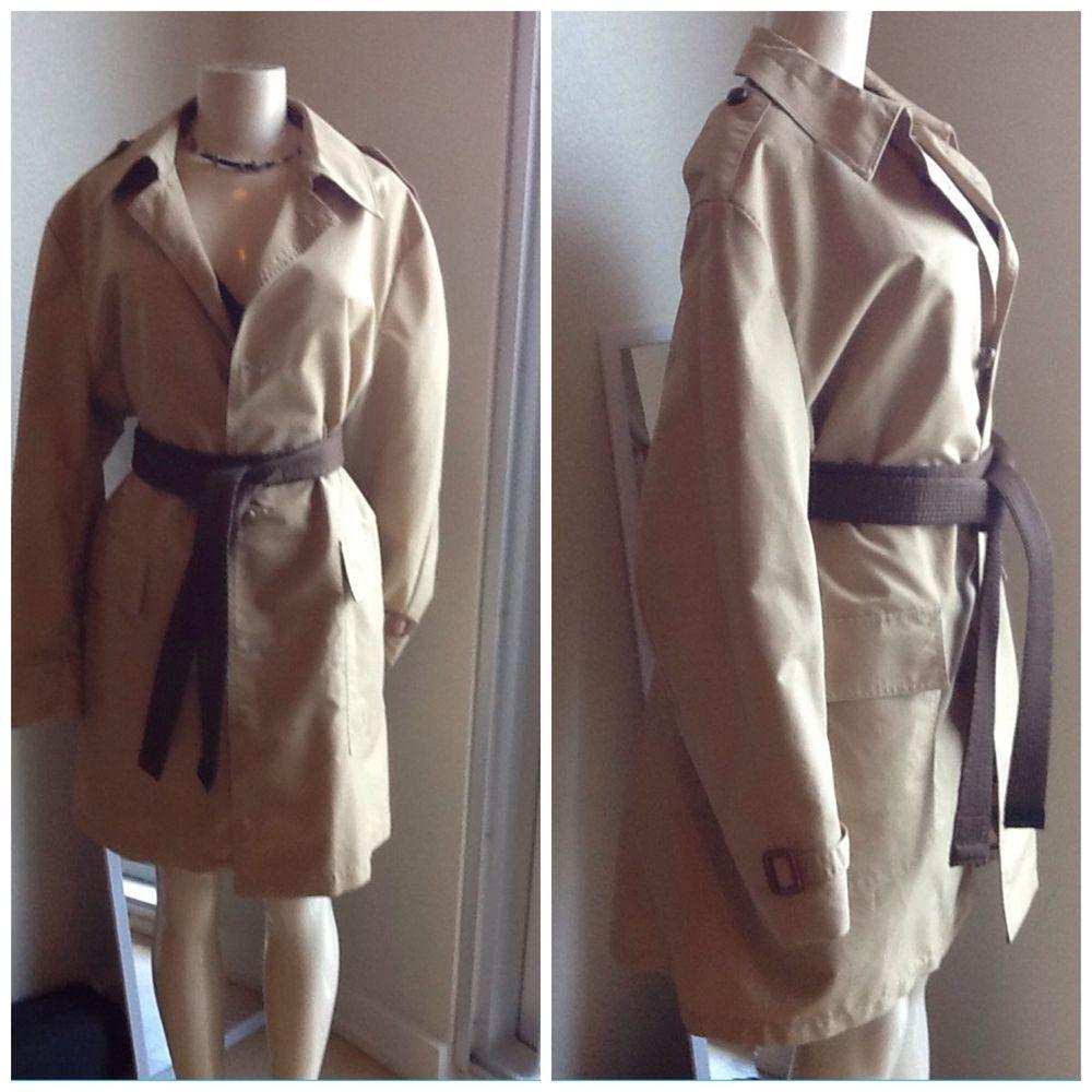 vtg 60s 70s Belted Spy Coat Mod Epaulets Trench Rain Stroller Mini Jacket M #Sears $99.99