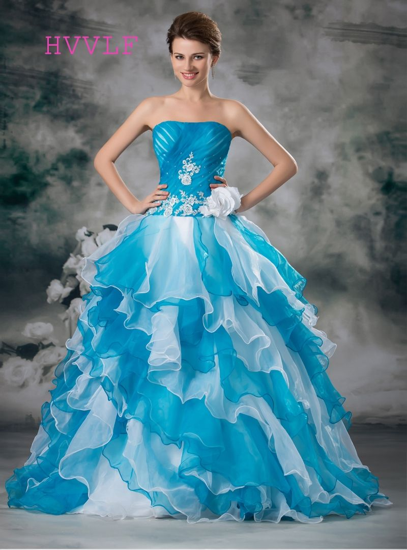 14ace876d58 Blue Quinceanera Dresses 2018 Ball Gown Sweetheart Floor Length Organza  Ruffles Appliques Flowers Lace Cheap Sweet