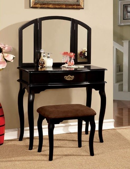 Winnette Black Solid Wood Veneer Metal Glass Lynette Vanity Set - Bedroom Vanity Table