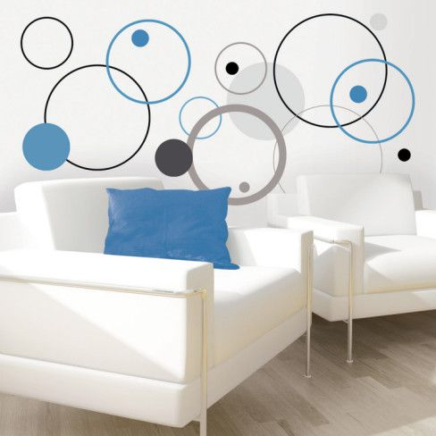 Blue Bubbles Wall Decal- it would be cute to put pictures or initals in the bigger circles!