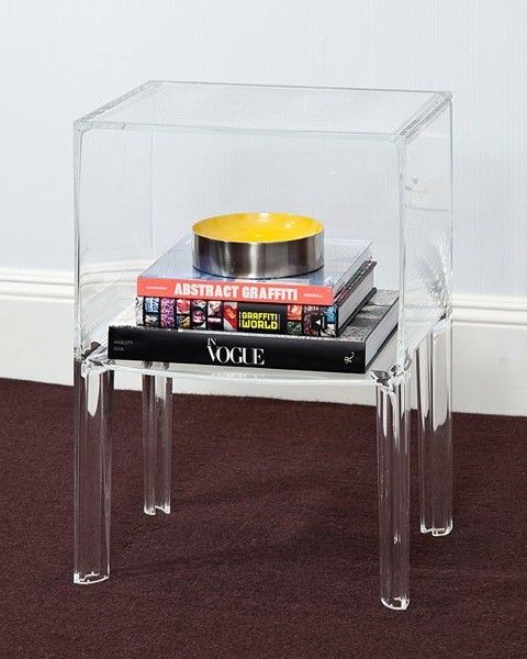 1 Shelf Clear Acrylic Lucite Bedside Table Acrylic Bedside Table
