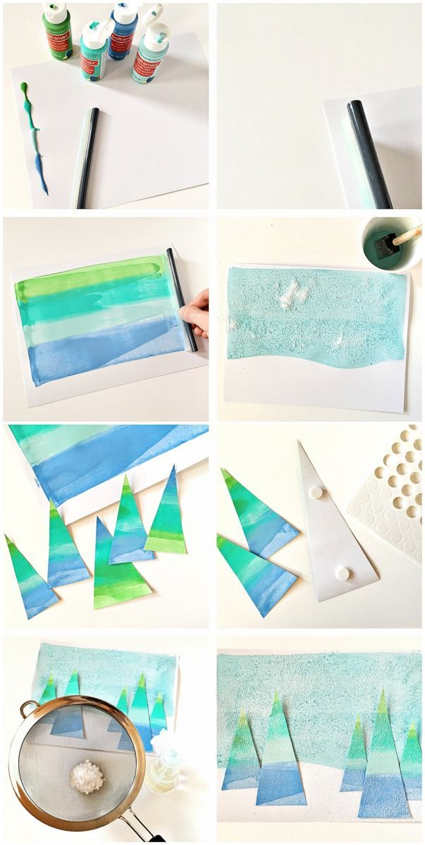 Winter Holiday Tree Squeegee Painting A Lovely Colorful Art Project For Kids With