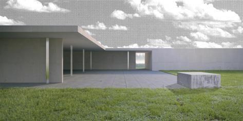 Tijdelijke installatie 1:1 Modell Golfclubhaus naar een nooit gerealiseerd ontwerp van Mies van der Rohe © Robbrecht & Daem architecten
