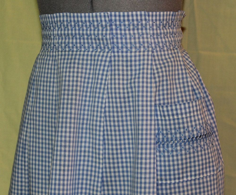 White half apron vintage - Vintage Blue And White Gingham Half Apron With Cross Stitching And Open Work