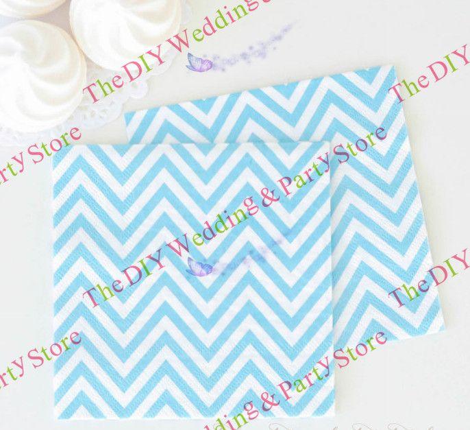 "retail 200pieces/lot Square 9"" disposable adorable light blue chevron paper tissue napkins for party decoration/holiday Supplies US $42.00"