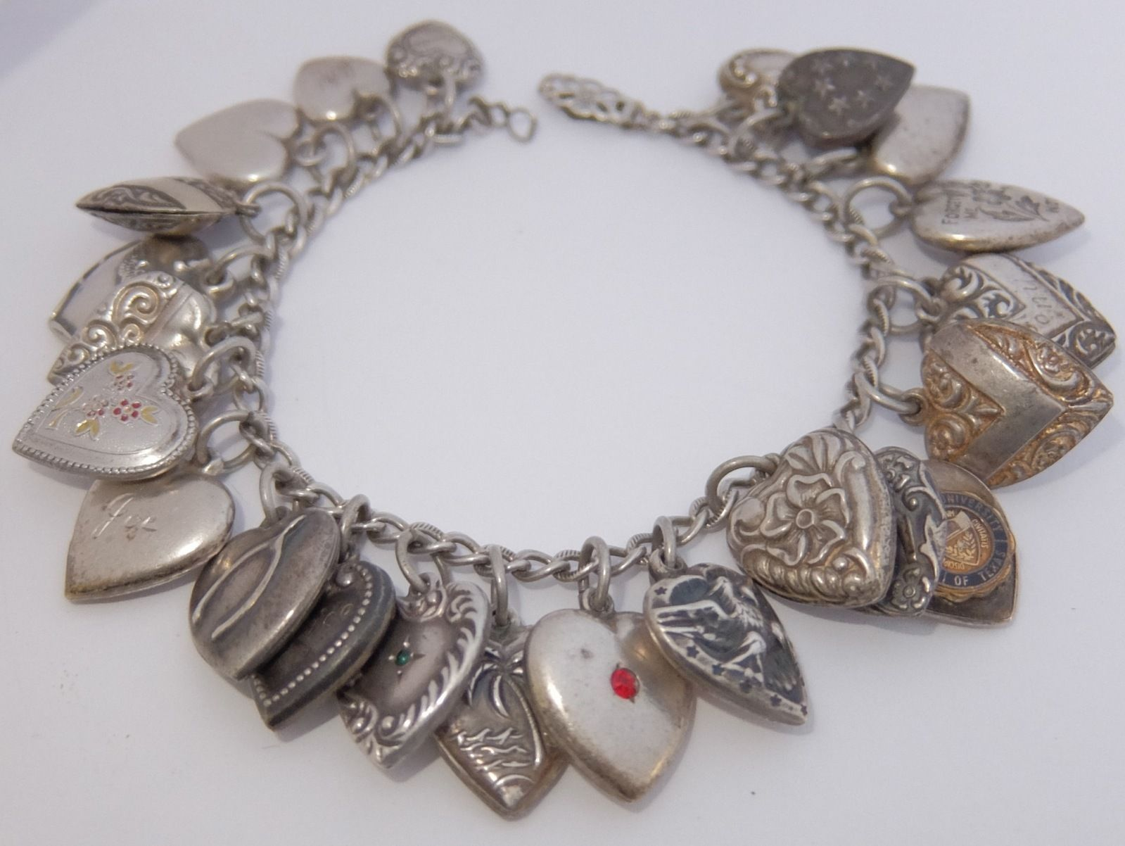 Loaded Vintage Antique Sterling Silver Puffy Heart Charm Bracelet | eBay