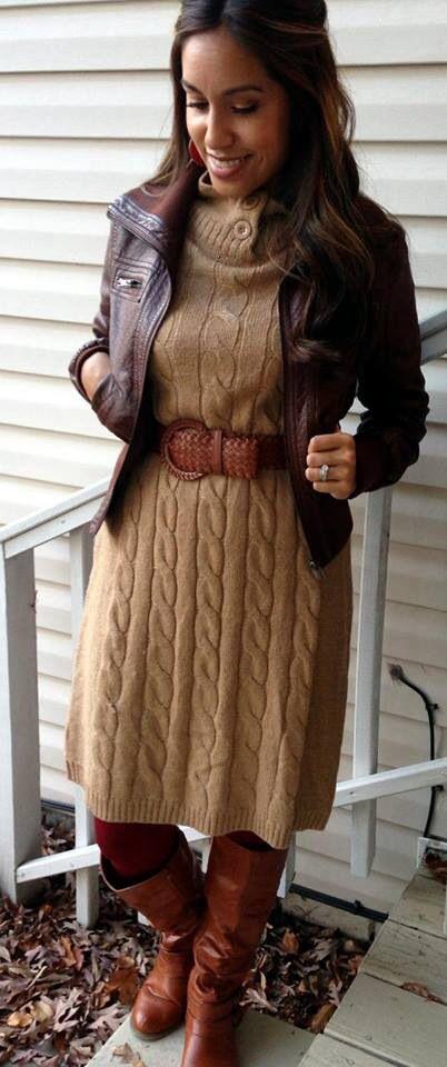 6f1b97155e5 Tan sweater dress. Modest winter fashion