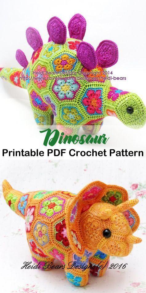 Create a fun dino today! dinosaur crochet patterns - crochet pattern pdf - amorecraftylife.com #crochet #crochetpattern #diy