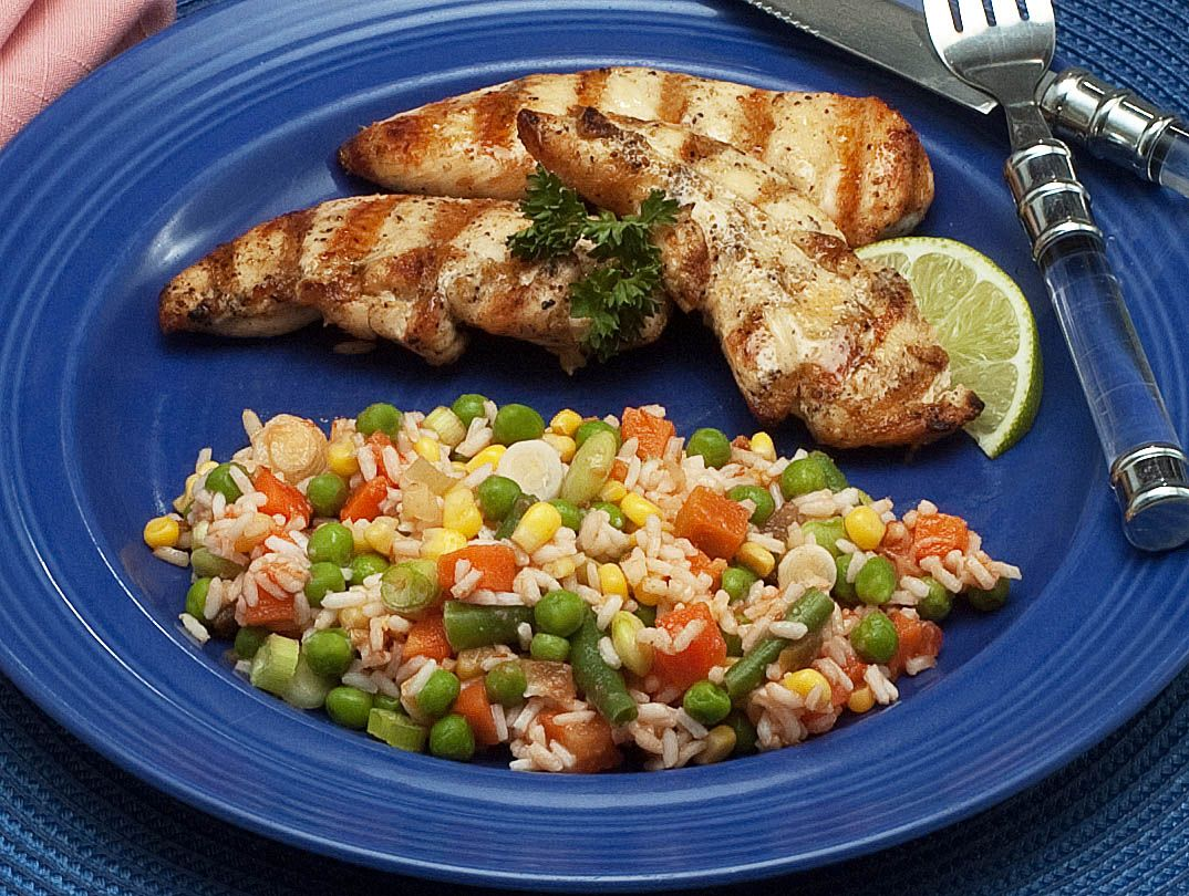 Lime and Cumin Chicken Tenders with Fiesta Rice