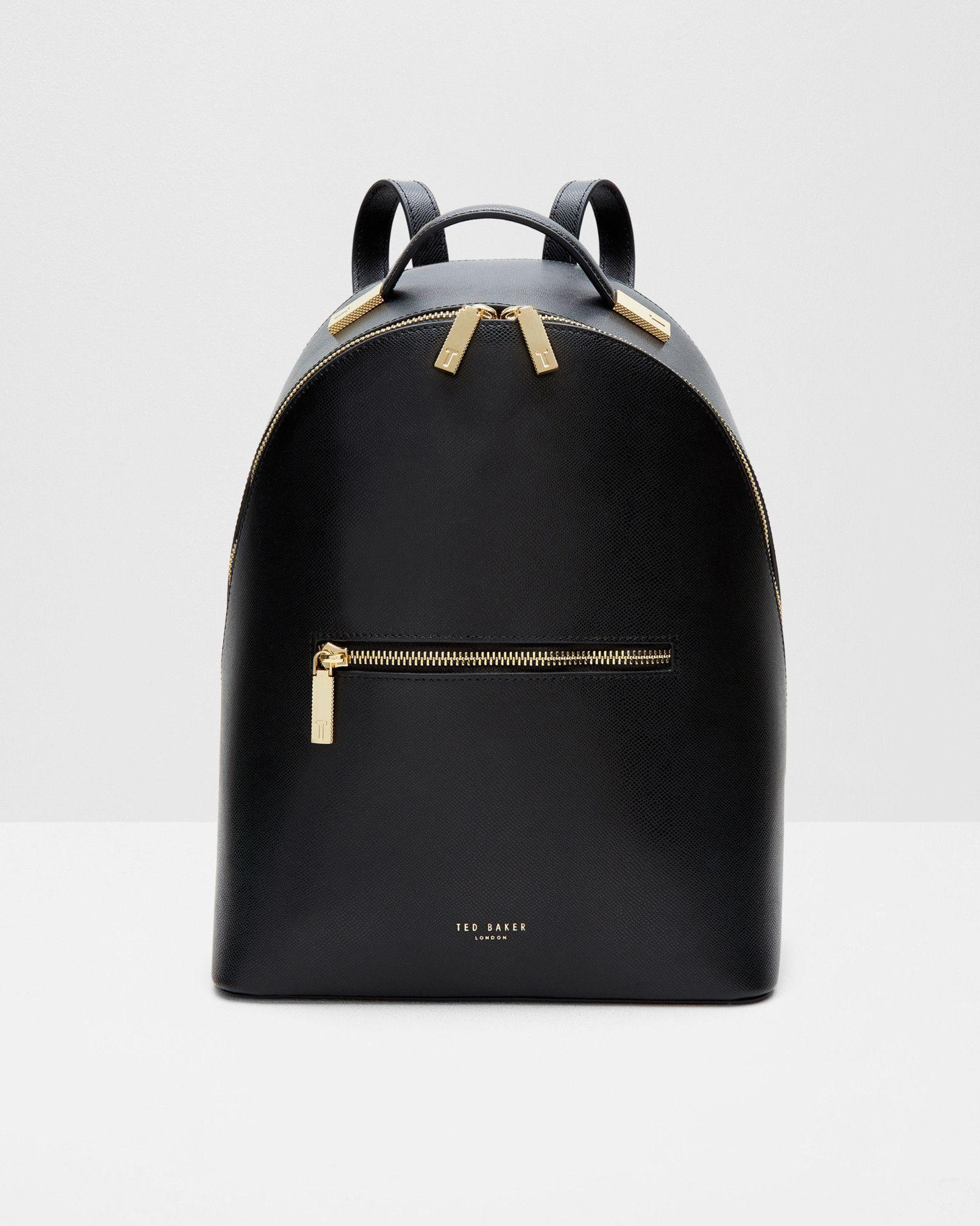 7f21e05b5 Cross grain leather backpack - Black