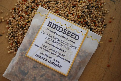 birdseed pouches for throwing. Dying to recreate my grandparents picture of getting pelted with rice.