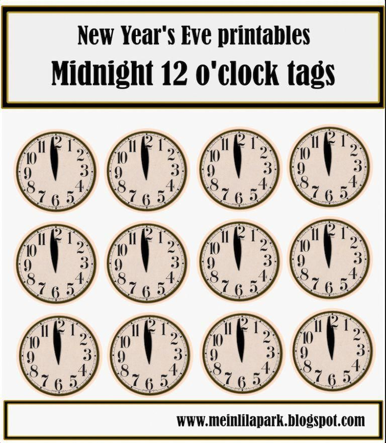 free printable 12 o'clock tags for New Year's Eve