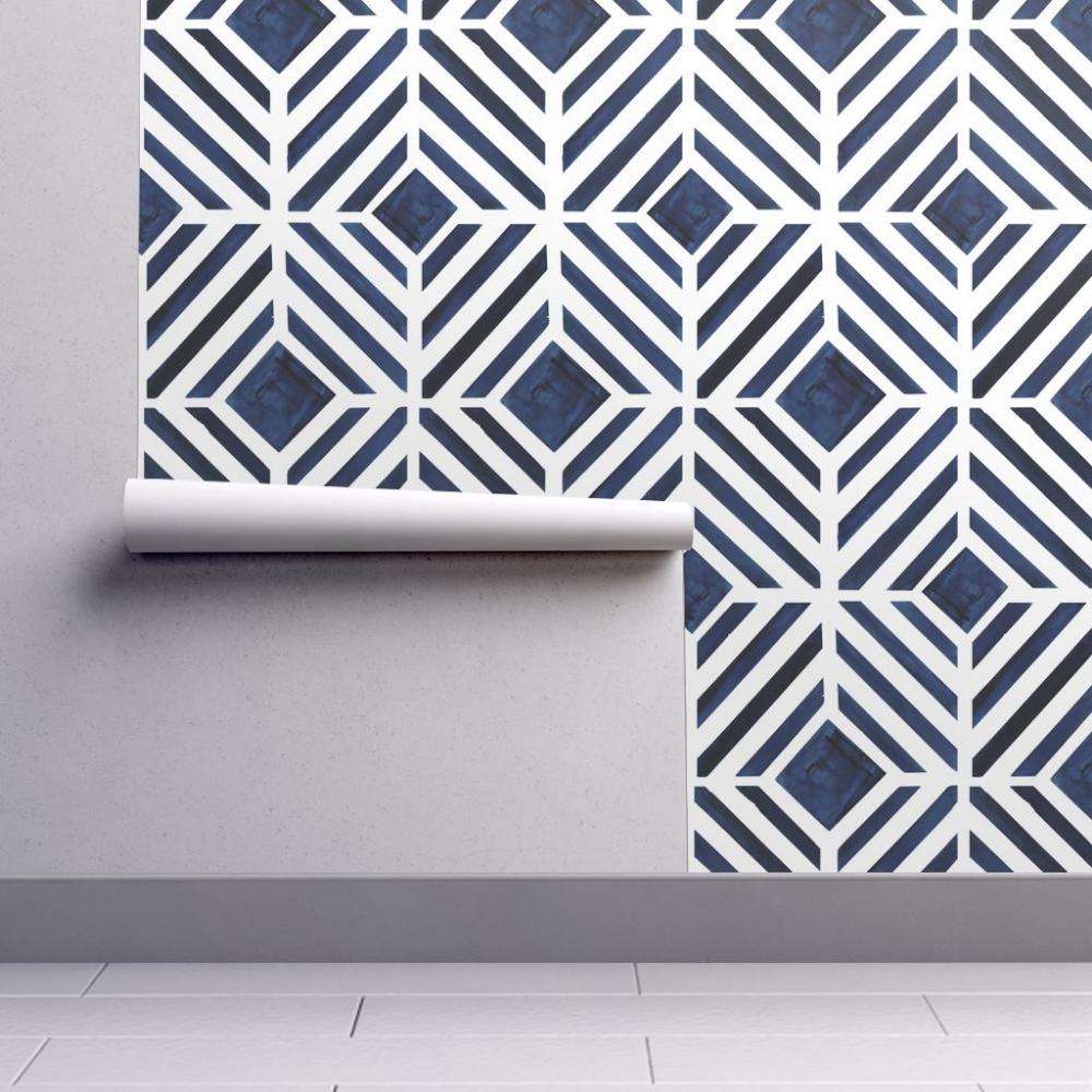 geo stripe indigo wallpaper crystal_walen Spoonflower