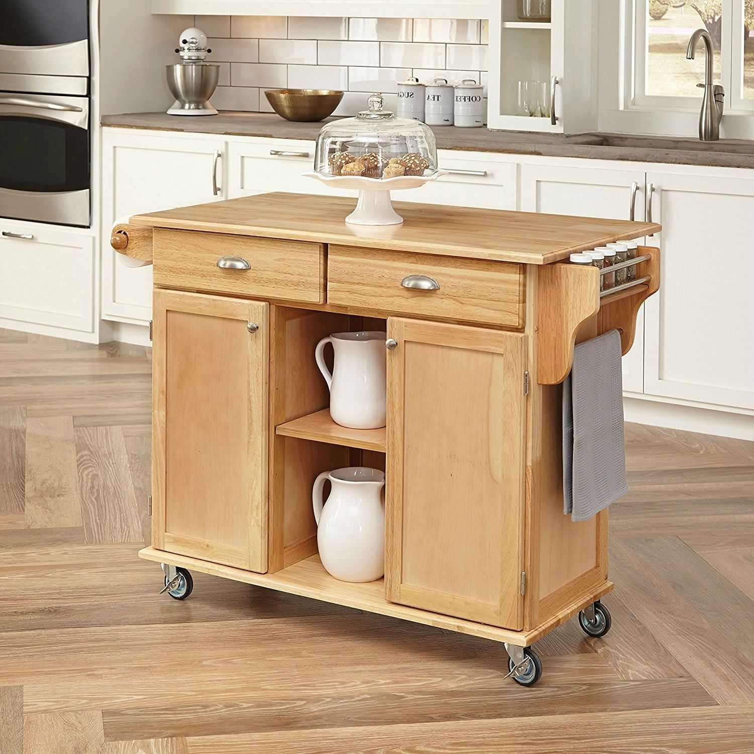 Natural Wood Finish Kitchen Island Cart With Locking Casters Adorable Kitchen Island On Casters 2018