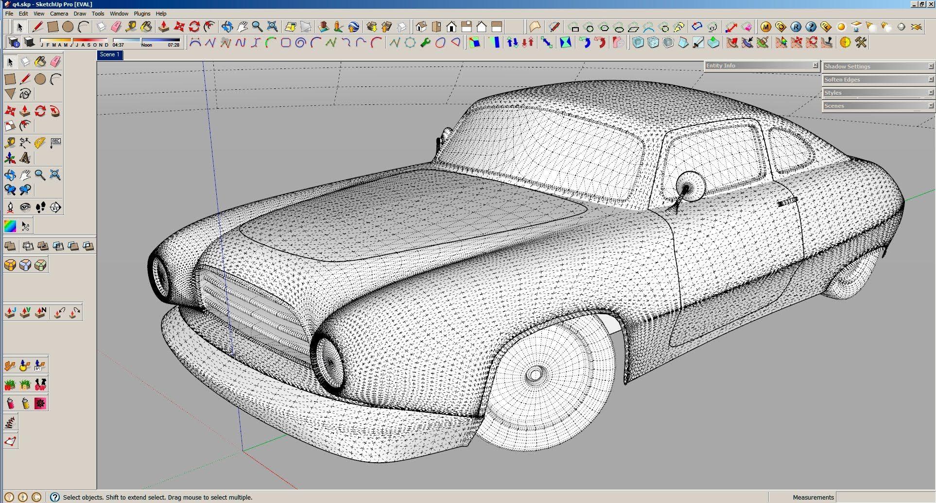 Sketchup car modeling realtime workflow | presentation