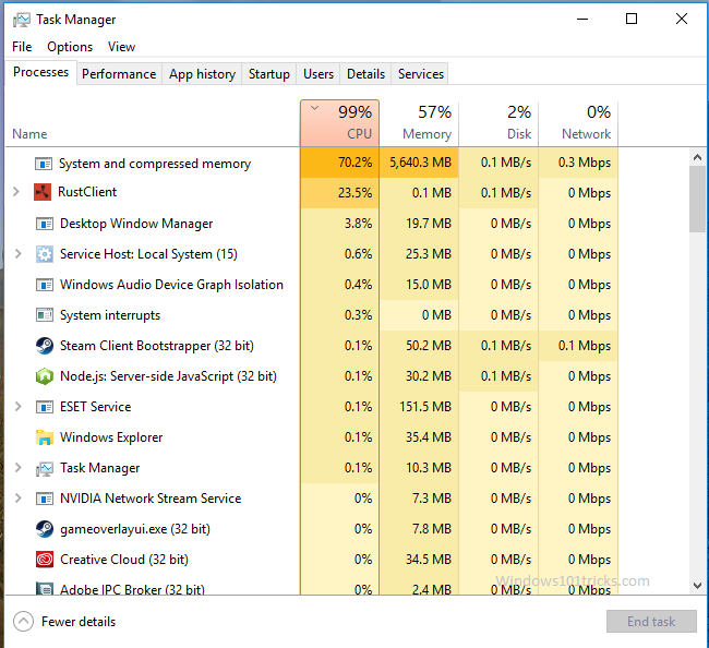 Fix System And Compressed Memory High CPU Usage In Windows 10 1903