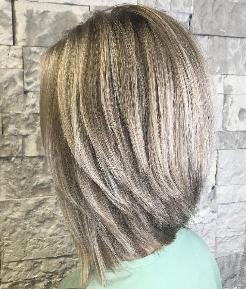 Long Layered Ash Bronde Bob Inverted Long Bob Bob Hairstyles Thick Hair Styles