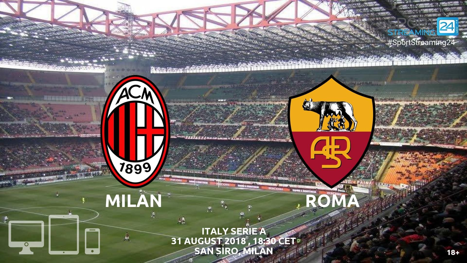 AC Milan v Roma Live Streaming Football